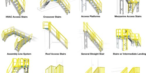Common industrial metal stair configurations